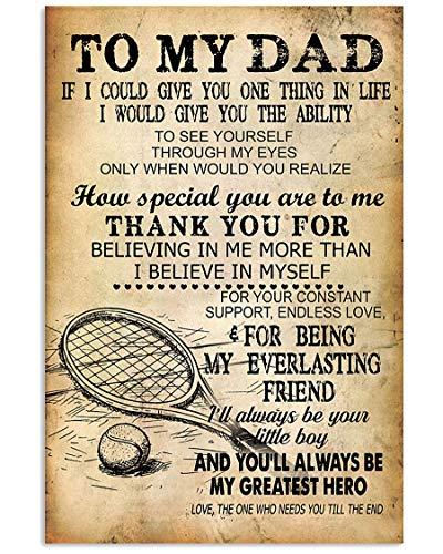 Raqueta de tenis y pelota en la hierba arte de pared, póster de tenis a mi padre de hijo, tenis y a mi papá, impresión de tenis y gracias a papá, sin marco, póster de 28 x 43 cm