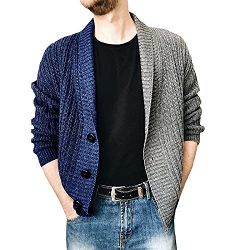 2021 Camiseta de punto para hombre de otoño, patchwork, colores de una fila, cómoda y cálida, de manga larga para hombre, para negocios, talla S, M, L, XL, XXL, 3XL, azul oscuro, XXL