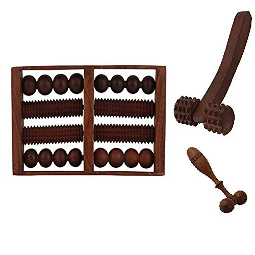 Craftshoppee Wooden Set of Wooden 8 Roller Foot/Feet Massager for Body Stress Acupressure Feet Care +finger cum face massager + hand massager