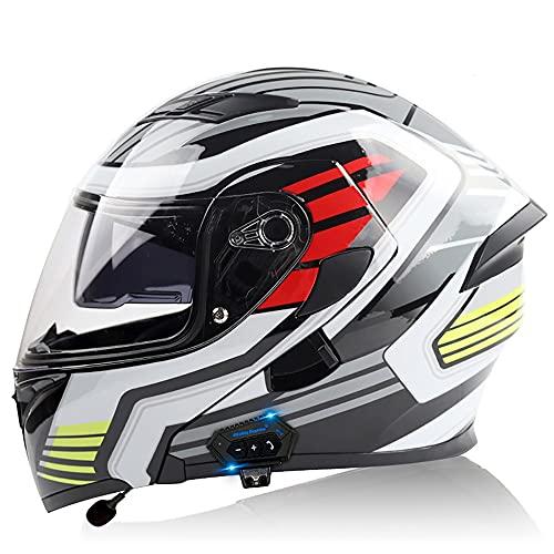 Casco Integral Modular Integrado con Función Bluetooth Los Cascos De Motocicleta para Hombres Y Mujeres con Cubiertas De Doble Cara Tienen Certificación ECE Y Dot
