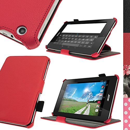 iGadgitz U3038 PU Ledertasche Hülle Cover & Bildschirmschutzfolie Kompatibel mit Acer Iconia One 7 B1-730HD - Rot