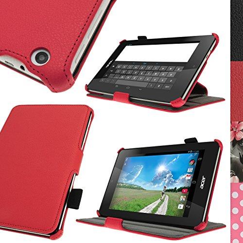iGadgitz U3038 Rojo Funda PU Cuero Compatible con Acer Iconia One 7 B1-730HD con Soporte Multi-Angle + Soporte por la Stylus + Protector Pantalla