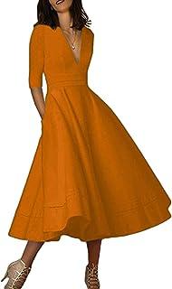OMZIN Damen Kleid Cocktailkelid Partykleid A-Linie Langarm Abendkleid Tief V-Ausschnitt Vintage