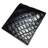 財布 二つ折り クロコダイル 腹 ブラック 革財布 メンズ レディース