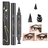 YUY 2PSC Eyeliner Stamps Cat Eye Liquid Black Wing Impermeable Black Liquid Eyeliner Pen Duradero Doble Delineador De Ojos Maquillaje Cosméticos,A