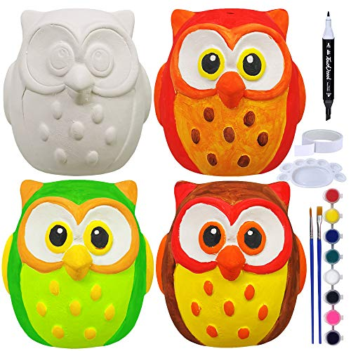 4 Sets DIY Ceramic Owls Figurines Paint Craft Kit Unpainted Bisque Ceramics Paintable Owls Ceramics Ready to Paint for Kids Fall Autumn Season Halloween Holiday at-Home Classroom DIY Craft Project