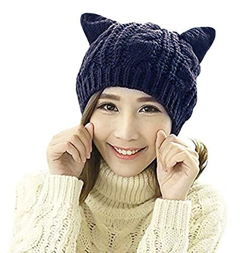 Amberetech Cute Woollike Knitted CAT Kitty Ears Women Lady Girl Headgear Crochet Hats (deep Blue)