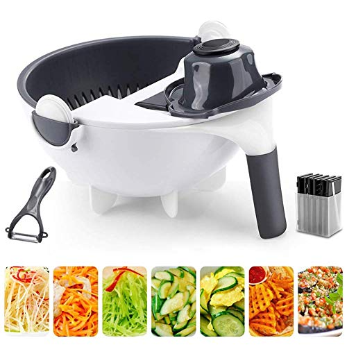 9 en 1 rotatif hachoir et coupe-légumes avec 8 lames de découpage en dés multifonctions hachoir à légume hachoir à oignons panier de cuisine cuisine trancheuse salade machine