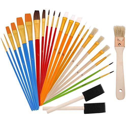 Pennelli Pittura Set di Pennelli Artista Spazzole Miste Professionali In Confezione Economica per Acquerello Acrilico Gouache Pittura Ad Olio 25 Pezzi