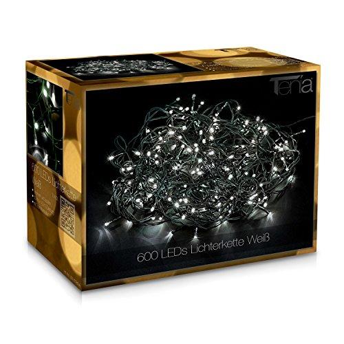 Tenia 600 LED Lichterkette Weiß (Kaltweiß) Innen/Außen 50M Weihnachten Gartenbeleuchtung