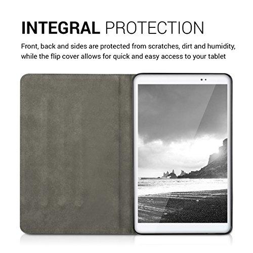 kwmobile Huawei MediaPad T1 10 Hülle - Tablet Cover Case Schutzhülle für Huawei MediaPad T1 10 - Grau Schwarz mit Ständer - 4