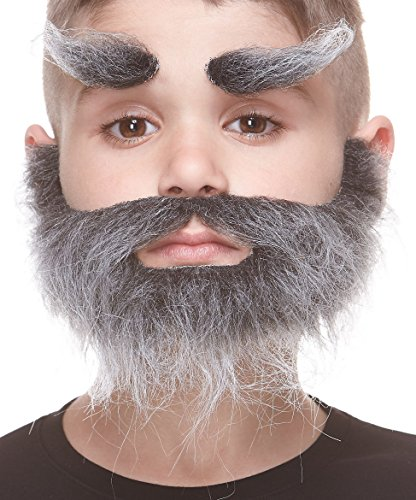 Mustaches Fake Beard and Eyebrows, Self Adhesive, Novelty, Small, Realistic Traper False Facial Hair, Costume Accessory for Kids, Salt and Pepper Color