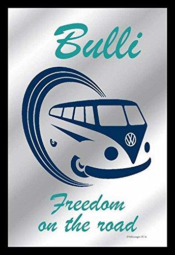 Empire Merchandising 657626 Volkswagen - VW Bulli Freedom Van - Espejo con decoración y Marco imitación Madera, Culto-Espejo - 20 x 30 cm