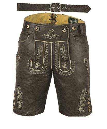 Lederhose mit Gürtel, echt Leder Nappa antik Trachten Lederhose Herren kurz, Damen Trachtenlederhose mit Gürtel in Schwarz Vintage (56, Antik Schwarz)