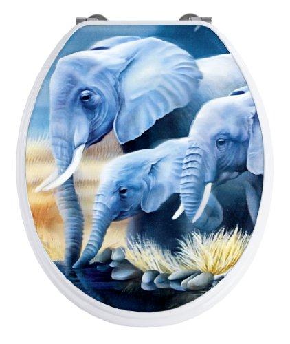 WENKO 19690100 WC-Sitz Elefant mit 3D-Effekt - 3D-Motiv, rostfreie Edelstahlbefestigung, MDF, 37.5 x 43.5 cm, Mehrfarbig