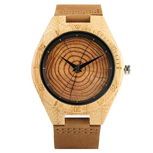 Yxxc Wooden Watch Natural Wooden Men Watch Creative Piecemeal Flower Dial Analog Quartz Soft Leather Band Analog Clock Male Hour Gifts