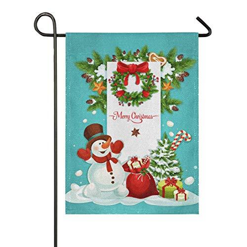 AEMAPE Regalo de muñeco de Nieve de Navidad Bandera de jardín de Temporada Banderas de Patio de Vacaciones al Aire Libre Banderas Decorativas de Temporada