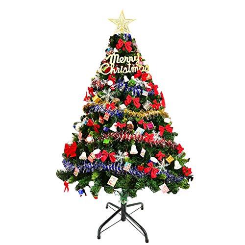 NICCOO beleuchteter Weihnachtsbaum künstlich 180cm, Grün Dekoriert Christbaum Tannenbaum mit LED Beleuchtung Christbaum-Metallständer Schleife Stern, Weihnachtsdeko 1,8m für Indoor Outdoor Weihnachten