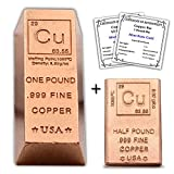 1 Pound Copper Bar Ingot Bundle with a Half Pound Copper Bar Bullion Paperweights - 999 Pure Chemistry Element Design with Certificate of Authenticity by CoinFolio
