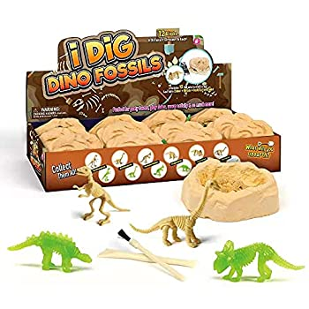 DOTSOG Dino Fossil Dig Kit,12 Pack Dinosaur Toys for Kids Open Unique Large Surprise Dinosaur Filled Fossil Archaeology Preschool Educational Science STEM Art Crafts Gifts Toys for Children & Adult