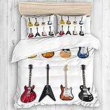 MEJX Parure de lit,Guitare Une Grande variété d'instruments à Cordes Motif Musical réaliste Jazz Blues Acoustic,1 Housse de Couette 140x200 + 2 Taies d'Oreillers