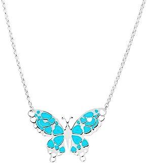 Collar con colgante de mariposa de plata de ley 925 para mujeres, mujeres, niñas, collar de mariposa de plata de ley de 4...