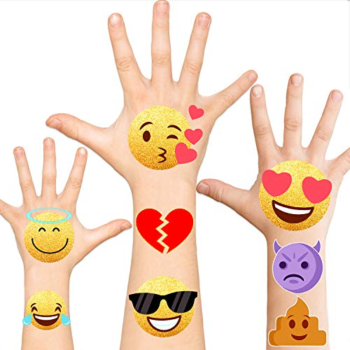 Metallic Glitter Emoji Tattoos...