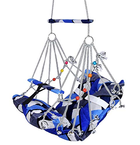 AkhandAnandArt Hammock Swing Without Accessories, Jhula Swing Chair Ideal 1-3 Years for Both Kids and Adults,Cotton Hanging Hammock Suitable for Indoor,Outdoor,Balcony,Home,Bedroom(Small) Under 20kg