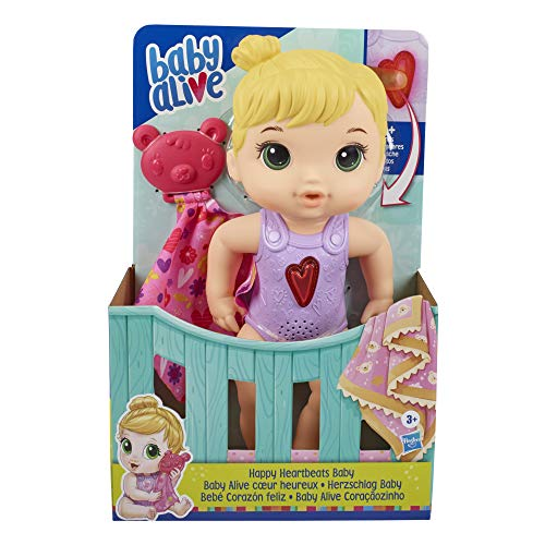 Baby Alive Happy Heartbeats Baby Doll, Responds to Play with 10+ Sounds and Blinking Heart, Toy for Kids Ages 3 Years Old and Up