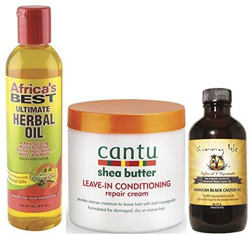Africa's Best Ultimate Herbal Oil, Cantu Leave-in Repair Cream and Sunny Isle Jamacian Black Castor Oil Combo