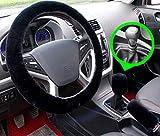 3pcs / set de lana sintética Cubierta del volante y cubierta del freno de mano y cubierta del engranaje interior del coche para el invierno (black for Manual)