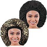 2PCS Große Satinhaube, Raibaubl Seidenhaube mit elastischem, weichem Band, große Schlafmütze für Frauen Haarpflege, Jumbo-Haube für Zöpfe natürliches langes Haar, lockiges Haar (Leopard+Schwarz)