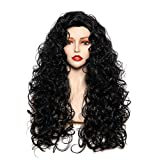 Rugelyss Long Wavy Wigs 28 Inches Natural Black Synthetic Kinky Curly Hair Wig for Women