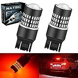 NATGIC 7443 7444NA 7440 7440NA Bombillas LED Rojo 1800LM 3014SMD Chipsets 78-EX con proyector de lentes para luces de retroceso de respaldo de luces de parada, 12-24V (2-Pack)