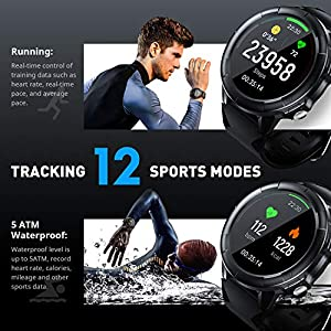 Arbily Reloj Inteligente Pantalla Táctil Completa Pulsera de Actividad Smartwatch Mujer Hombre (Black)