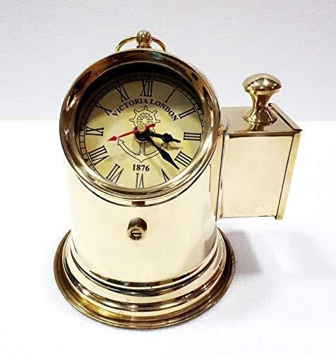 Reloj de escritorio vintage dorado con brújula de estilo náutico de barco marítimo de latón envejecido