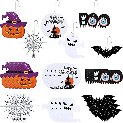 30 Pieces Halloween Hanging Ornaments with 30 Pieces Metal Hooks Pumpkin Bat Ghosts Spider Boo Shaped Hanging Ornaments Halloween Themed Hanging Baubles Pendent Decorations for Halloween Party