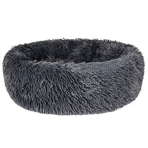 Bestdon Haustierbett für Katzen und Hunde,Rundes Plüsch Hundebett,Katzenbett in Doughnut-Form,Dunkelgrau 40cm