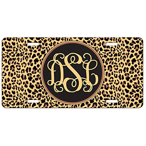 Simply Customized Leopard Cheetah License Plate Personalized Animal Print Aluminum Gift for Her Mothers Day Front License Plate PLP