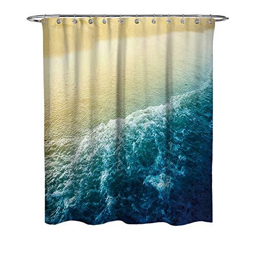 WFLJ 3D digitaal printen zee landschap badkamer gordijn voor Home Decor, waterdicht en meeldauw gemakkelijk te plaatsen stof douchegordijn voor bad bad bad en douchecabine, met 12 stuks haken