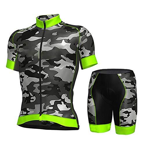 Maillot De Ciclismo Conjunto Para Hombre,Diseño De Camuflaje Verde Road Riding Mtb...