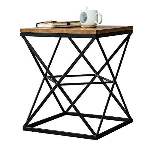 Home&Selected Vierkant massief hout, bijzettafel, industriële stijl, nachtkastje, 45 x 45 x 50 cm