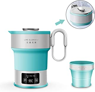 Portable Electric Kettle – Dual Voltage – Expandable & Collapsible for Easy Storage – Convenient and Folding for Travel – BPA Free Food Grade Silicone LED Digital Display, Collapsible, Portable Boil Dry Protection Camping Water Boiler