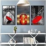 Muzimuzili Arte de Pared Impresiones en Lienzo modulares póster de Estilo nórdico Pintura de Paraguas Paisaje Moderno para la decoración del hogar de la Sala de estar-50x70cmx3 sin Marco