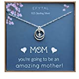EFYTAL Baby Shower Gift, Sterling Silver Pregnancy Necklace for Expecting New Mom, First Time Mom Pregnant Mother To Be Jewelry, Mother's Day