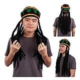 REFURBISHHOUSE Rasta Sombrero Boina jamaicana Gorra de Estilo Reggae de Bob Marley aplatanado de Ganchillo de Punto Verde/Amarillo/Negro/Rojo