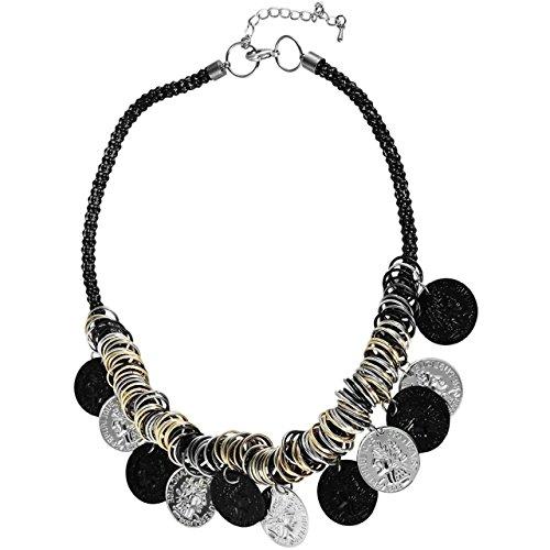 Modieuze halsketting 45 cm zwart zilver goud met ringen en munten collier ketting