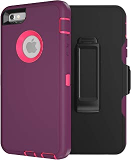 MXX iPhone 6S Case/iPhone 6 Case, Heavy Duty Defender - High-Grade TPU PC Protection - Hybrid Bumper Cover - with Screen Protector and 360 Degree Rotating Belt Clip for iPhone 6/6S - (Plum Hot Pink)