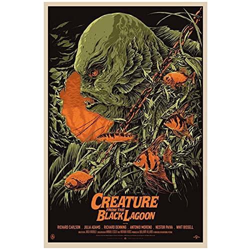 Chtshjdtb Póster universal de monstruos de criatura de la laguna negra con impresión de cuadros de arte para sala de estar, decoración del hogar, regalos, 50 x 70 cm, sin marco