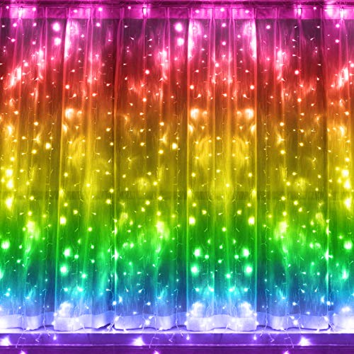 Greenke Rainbow Fairy String Lights, LED Rainbow Curtain Lights with Remote Control for Christmas Wedding Bedroom Party Outdoor/Indoor